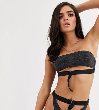 Candypants Exclusive cut out buckle bandeau bikini top in black glitter