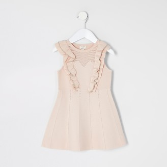 River Island Mini girls Pink beaded pointelle frill dress