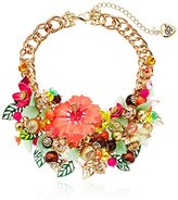 """Betsey Johnson Tropical Punch"""" Tropical Mixed Flower & Bead Statement Bib Necklace, 15"""" + 3"""" Extender"""
