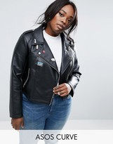 Asos Ultimate Leather Look Biker Jacket with Pin Badge Detail
