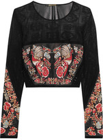 Roberto Cavalli Cropped Jacquard Top - Black