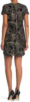 Calvin Klein Lurex Paisley Velvet Short Sleeve Dress