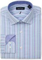 Nautica Men's Classic Fit Performance Striped Spread Collar Dress Shirt