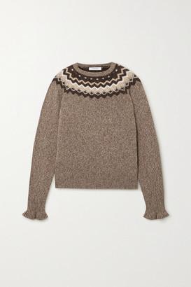 Frame Ruffled Fair Isle Knitted Sweater - Beige