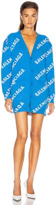 Balenciaga Long Sleeve Logo Cardigan in Screen Blue & White | FWRD