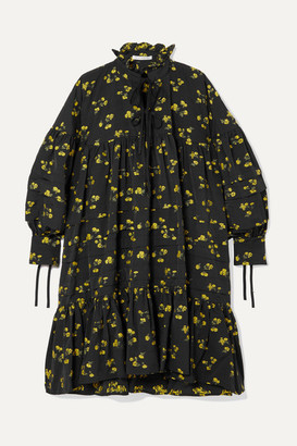 Cecilie Bahnsen - Macy Oversized Pintucked Fil Coupe Poplin Dress - Black