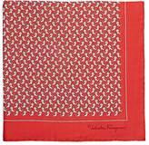 Salvatore Ferragamo Men's Frog-&-Lion-Print Silk Pocket Square