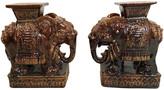One Kings Lane Vintage Tall Glazed Elephant Garden Seats - Set of 2 - Von Meyer Ltd. - brown