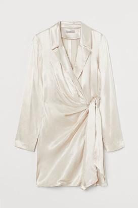 H&M Satin Jacket Dress - Beige