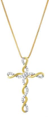 Silver Cross Fine Jewelry Womens 1/5 CT. T.W. Genuine White Diamond 14K Gold Over Pendant Necklace