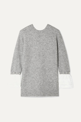 3.1 Phillip Lim Faux Pearl-embellished Satin-trimmed Knitted Sweater - Gray