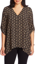 Chaus Guilded Scroll Print Roll Tab V-Neck Blouse