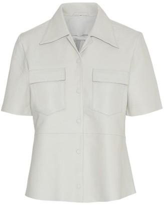 REMAIN Birger Christensen Sienna Short-Sleeve Leather Shirt