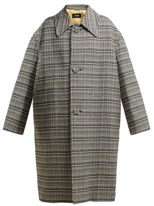 Raf Simons Single Breasted Checked Coat - Womens - Black White