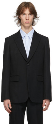 Comme des Garçons Homme Deux Black Wool Yarn-Dyed Blazer