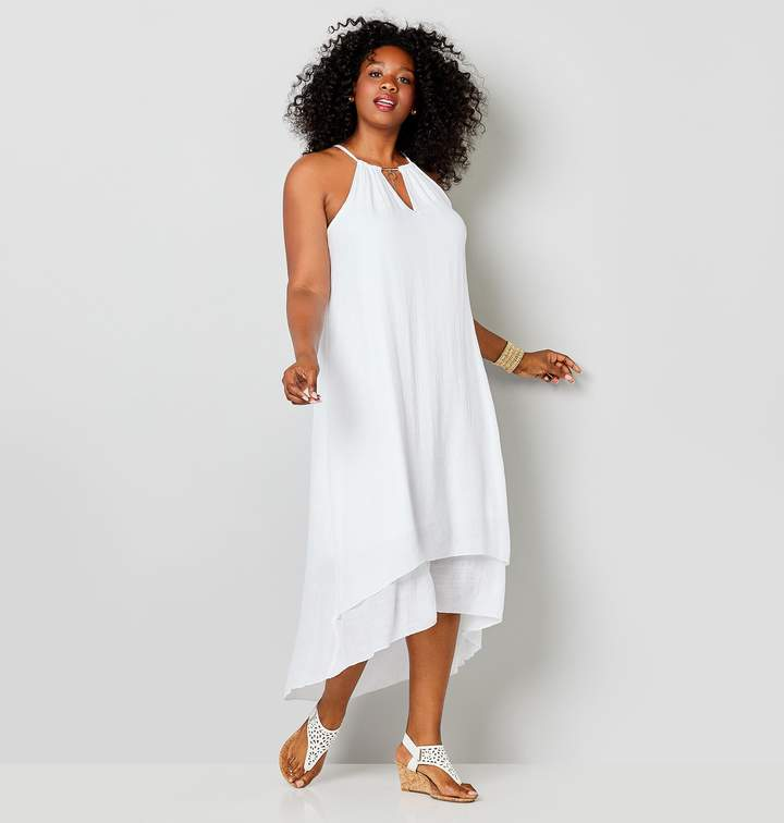 Plus Size Halter Neck White Gauze Hi-Lo Dress