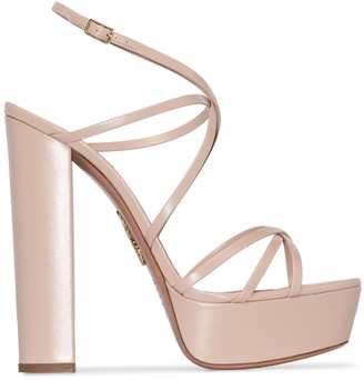 Aquazzura Gin Plateau 140mm leather platform sandals