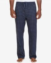 Nautica Men's Blue Gingham Lightweight Sueded Fleece Pajama Pant