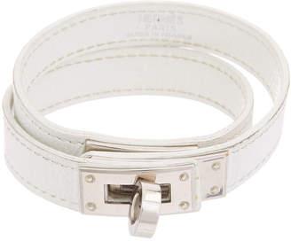 Hermes Palladium-Plated & White Leather Kelly Double Tour Bracelet