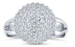 Bling Jewelry Statement Pave CZ Disco Ball Ring Split Band 925 Sterling Silver