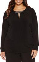 Liz Claiborne Long Sleeve Crew Neck Knit Blouse-Plus