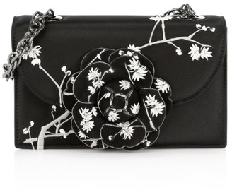 Oscar de la Renta Tro Embroidered Satin Crossbody Bag