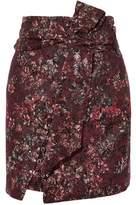 IRO Lace-Up Belted Metallic Jacquard Mini Skirt