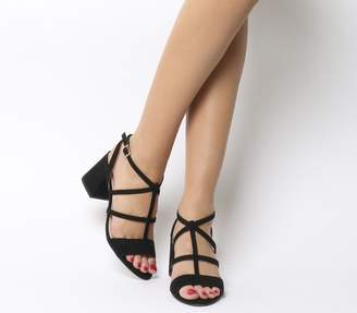 Office Monarch Caged Block Heels Black