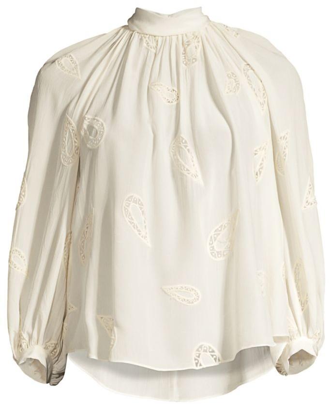 Rebecca Taylor Long-Sleeve Applique Top