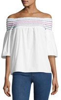 Parker Yasmin Smocked & Embroidered Off-the-Shoulder Blouse, White