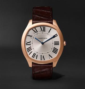 Cartier Drive De Hand-Wound 18-Karat Pink Gold And Alligator Watch, Ref. No. Crwgnm0006