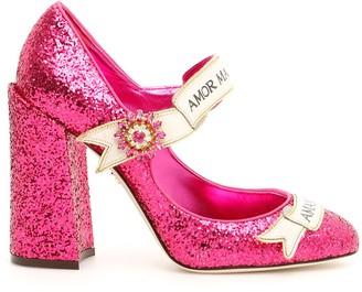 Dolce & Gabbana Slogan Glitter Mary Janes