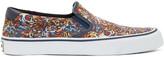 Kenzo Blue & Orange Flying Tiger Slip-On Sneakers