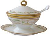 One Kings Lane Vintage Ginori Porcelain Mustard Pot - The Emporium Ltd. - white/gold/green/blue/yellow/pink