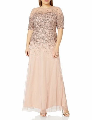 Adrianna Papell Women's Plus Size Beaded Illusion Gown Dress