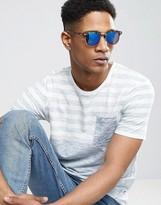 Asos Retro Sunglasses In Tort With Blue Flash Lens
