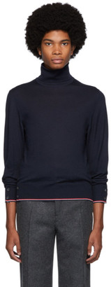 Thom Browne Navy Cashmere Classic Turtleneck