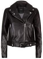 SET Embellished Leather Jacket