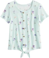 Mudd Girls 7-16 & Plus Size Button-Up Tie Print Thermal Tee