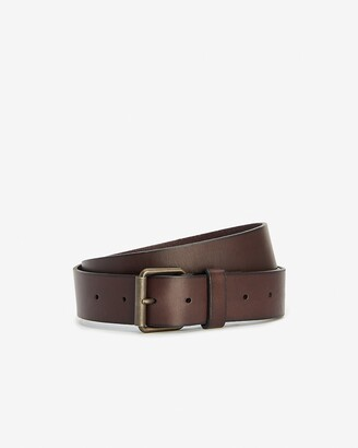 Express Dark Brown Leather Prong Buckle Belt