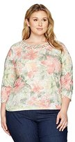 Alfred Dunner Women's Plus Size Lace Floral, 3/4 Sle