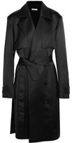 Protagonist Double-breasted Satin Trench Coat - Black