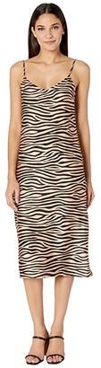BB Dakota Slip Service Zebra Print Satin Slip Dress (Light Camel) Women's Dress