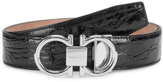 Salvatore Ferragamo Gancini Buckle Patent Crocodile Belt
