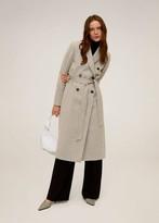 MANGO Belted wool coat grey - S - Women