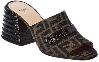 Fendi Ff Canvas & Leather Mule