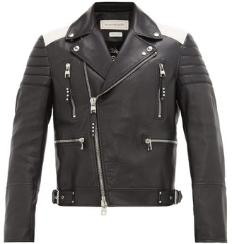 Alexander McQueen Quilted-panel Leather Biker Jacket - Mens - Black White