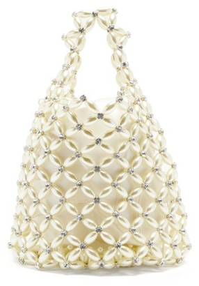 Simone Rocha Faux Pearl & Crystal Beaded-net Bag - Cream