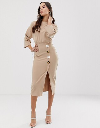 Asos Design DESIGN batwing shell button pencil dress-Beige