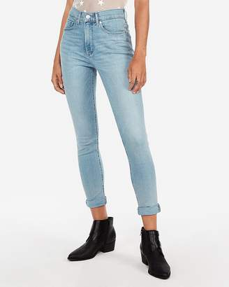 Express High Waisted Denim Perfect Light Wash Cropped Leggings